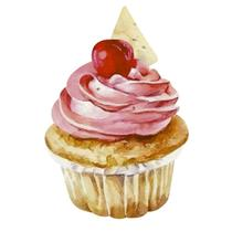 Aplique Decoupage Litoarte APM8-1176 em Papel e MDF 8cm Cupcake Rosa -