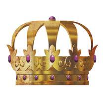Aplique Decoupage Litoarte APM8-521 em Papel e MDF 8cm Coroa Dourada Pedra Lilás -