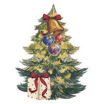 Aplique Decoupage Natal Litoarte APMN8-088 em Papel e MDF 8cm Pinheirinho de Natal com Sino -