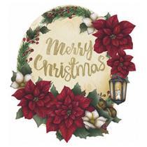 Aplique Decoupage Natal Litoarte APMN8-090 em Papel e MDF 8cm Poinsétia com Luminária -
