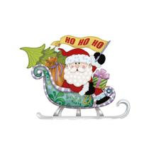 Aplique Decoupage Natal Litoarte APMN8-122 em Papel e MDF 8cm Papai Noel Trenó -