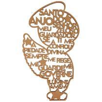 Aplique em MDF Anjo em Pé Oração Santo Anjo 30x16,2cm - Palácio da Arte -