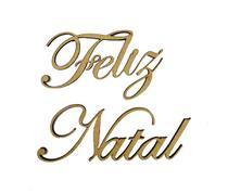 Aplique Em MDF Palavra Feliz Natal Crú Natal 25 cm - Atelie Arte Coisas