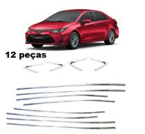 Aplique Friso Cromado Janela e Pestana Corolla 2020 2021kit 12 peças - Toyota