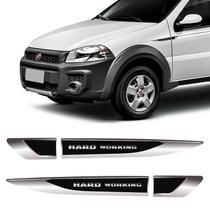 Aplique Lateral Strada Hard Working Emblema Resinado Cromado - Sportinox