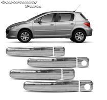 Aplique Macaneta Citroen C3 Peugeot 307 2001 a 2012 4 Portas Cromado -