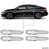 Aplique Maçaneta Cromado Sem Furo Honda Civic G10 4 Peças - Carliza