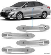 Aplique Maçaneta Cromado Sem Furo Keyless Toyota Yaris 4 Peças - Carliza