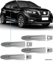 Aplique Maçaneta Cromado Sem Furo Nissan Kicks 4 Peças - Carliza