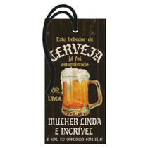 Aplique MDF e Papel Litoarte 14,5 x 7 cm - Modelo Este Bebedor de Cerveja... DHT2-126 -