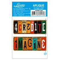 Aplique MDF e Papel Litoarte 7 x 3 cm - Modelo Placa Acredite - Imagine APM4-390 2 Peças -