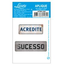Aplique MDF e Papel Litoarte 7 x 3 cm - Modelo Placa Acredite - Sucesso APM4-389 2 Peças -