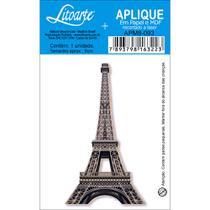 Aplique MDF e Papel Litoarte 8 cm - Modelo APM8- 093 Torre Eiffel -