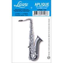 Aplique MDF e Papel Litoarte 8 cm - Modelo APM8- 168 Saxofone -