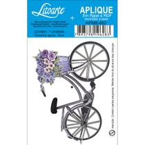 Aplique MDF e Papel Litoarte 8 cm - Modelo APM8- 482 Bicicleta com Cesto de Flores -
