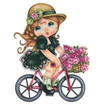 Aplique MDF e Papel Litoarte 8 cm - Modelo APM8-549 Menina Bicicleta -