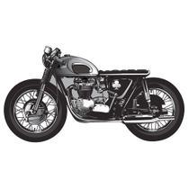 Aplique MDF e Papel Litoarte 8 cm - Modelo APM8-954 Moto Cinza e Preta -