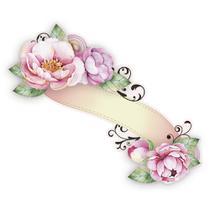 Aplique MDF e Papel Litoarte 8 cm - Modelo APM8-999 Tag Com Flores E Arabesco -