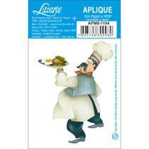 Aplique MDF e Papel Litoarte 8 cm - Modelo Cozinheiro com Bandeja APM8-1194 - 1 Peça -