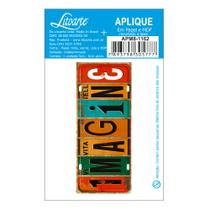 Aplique MDF e Papel Litoarte 8 x 3,3 cm - Modelo Placa Imagine APM8-1162 -