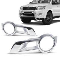Aplique Moldura Cromada Farol Milha Hilux 2012 13 14 - Toyota