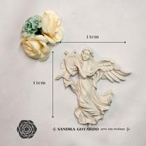 Aplique Resina  Anjo com harpa  - AS028 - Sandra Gotardo - Sg Resinas Ltda