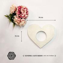 Aplique Resina Aplique porta guardanapo coração 8x9x1- resina CZ 015 - Sandra Gotardo - Sg Resinas Ltda