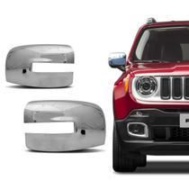 Aplique Retrovisor Cromado Jeep Renegade 2015 a 2019 Dupla Face - Serauto