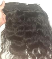 aplique tic tac cabelo humano liso ondulado 70cm/100g - Universo Capilar
