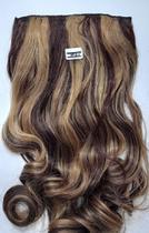 Aplique tic tac cabelo Ondulado Morena Iluminada 60 cm MKlO519 - Não Informado