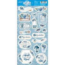 Apliques de Papel Recortado Litoarte LDC-005 Die Cuts Scrapbook Rústico Azul -