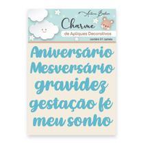 Apliques Decorativos Charme Antonio Barbosa Palavras Baby Azul 6 unidades - 200540 -