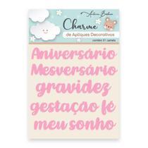 Apliques Decorativos Charme Antonio Barbosa Palavras Baby Rosa 7 unidades - 200541 -