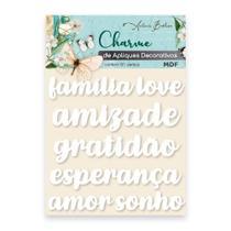 Apliques Decorativos Charme Antonio Barbosa Palavras Branco 6 unidades - 200547 -