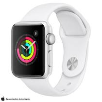 Apple Watch S3 Sport Prata com Pulseira Esportiva Branca, 38 mm, Bluetooth e 8 GB