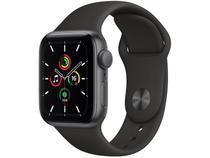 Apple Watch SE 40mm Cinza-espacial GPS - Pulseira Esportiva Preta