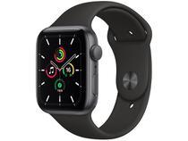 Apple Watch SE 44mm Cinza-Espacial GPS Integrado - Pulseira Esportiva Preta