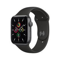 Apple Watch SE (GPS) 44mm caixa cinza-espacial alumínio pulseira esportiva preta -