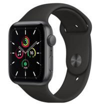 Apple Watch SE GPS 44mm Caixa Cinza-Espacial de Alumínio com Pulseira Esportiva Preta -