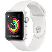 Apple Watch Series 3, 42 mm, Alumínio Prata, Pulseira Esportiva Branca e Fecho Clássico - MTF22BZ/A. -