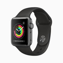 Apple Watch Series 3 (GPS) - 38mm - Caixa cinza-espacial de alumínio com pulseira esportiva preta -