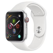 Apple Watch Series 4 (GPS + Cellular) 44mm - Caixa de Alumínio Prateada e Pulseira Esportiva Branca -