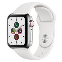 Apple Watch Series 5 Cell GPS 40 mm Aço Inoxidável Prata, Puls Esport Branca Fecho Clás MWX42BZ/A
