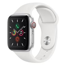 Apple Watch Series 5 Cellular /GPS 40 mm Alumínio Prata Puls Esportiva Branca/Fecho Clás MWX12BZ/A