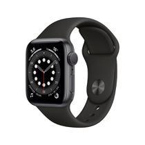 Apple Watch Series 6 (GPS) 44mm caixa cinza-espacial alumínio pulseira esportiva preta -