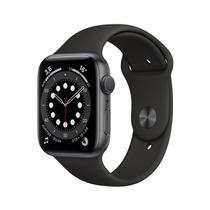 Apple Watch Series 6 GPS 44mm Caixa Cinza-Espacial de Alumínio com Pulseira e Esportiva Preta -