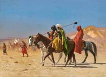 Árabes Cruzando o Deserto (1890) - Jean-Léon Gérôme - 60x83 - Tela Canvas Para Quadro - Santhatela