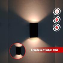 Arandela 2 Fachos Luminária Preta Muro Parede Externa Led 10w - Lcgeletro