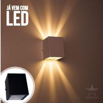 Arandela de efeito 6 fachos preta + led 5w 3000k luminária externa e interna st566 - Starlumen