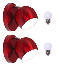 Arandela Luminária de Parede Retrô Bola Vermelha 1 Lâmpada - Lampadari